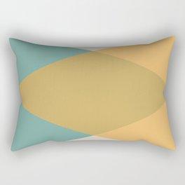 Mid Century - Yellow and Blue Rectangular Pillow