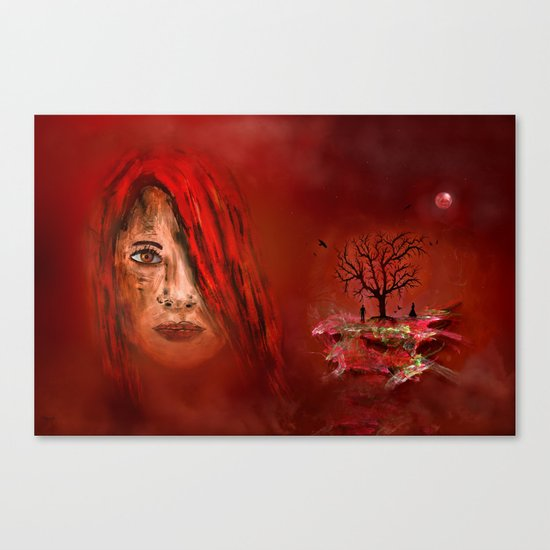 Lady in red - Island Canvas Print
