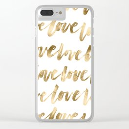 Gold Love Quote Pattern Typography Script Clear iPhone Case