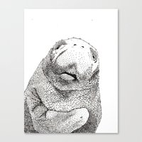 manatee Canvas Prints featuring Manatee by Adrienne Lobl