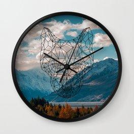 Wolf nature mountain Wall Clock