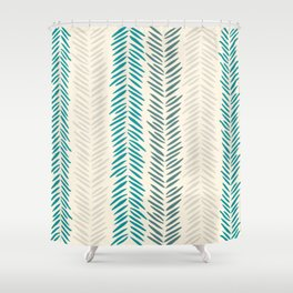 Herringbone bamboo leaves Shower Curtain