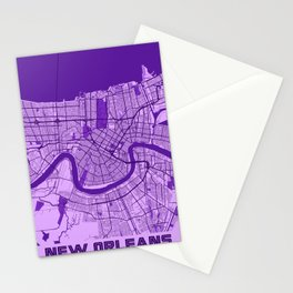 New Orleans - Louisiana Lavender City Map Stationery Cards