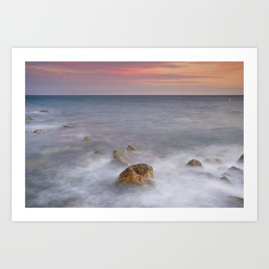 Big rock against the waves Art Print