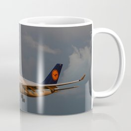 A Lufthansa Plane Peparing For Landing Coffee Mug