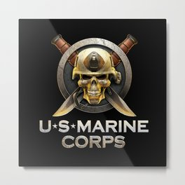 Military badge with marine skull Metal Print