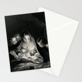 The Nativity, Virgin Mary with Infant Jesus surrounded by Angels Stationery Cards