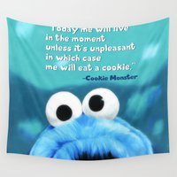 motivational Wall Tapestries featuring Cookie Monster Motivational by Tiffany Taimoorazy