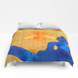 Buddha with Bees in Blue and Gold Comforters