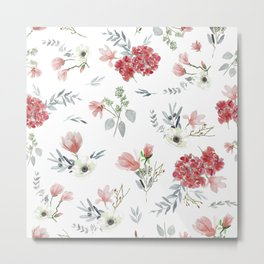 Autumn Floral Pattern Metal Print