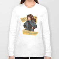 kili Long Sleeve T-shirts featuring Kili at Your Service by Hattie Hedgehog