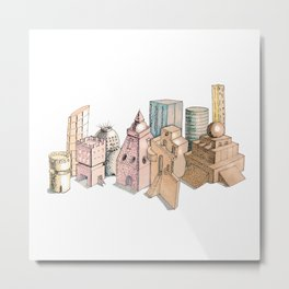 the city painted in pastel colours . artwork . Metal Print