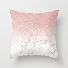 Rose Glitter Pink Marble Throw Pillow