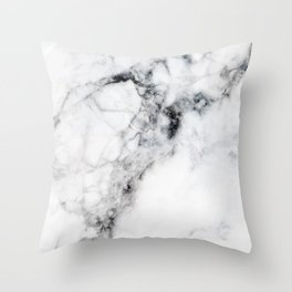 Arctic White Marble Throw Pillow