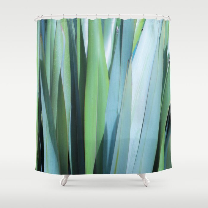 Blue And Green Leaves Shower Curtain By Tess Andre