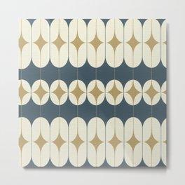 Night Blue Scandinavian Mid-Century Pattern Metal Print