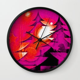 Bright Christmas Forest Wall Clock