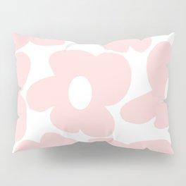 Large Baby Pink Retro Flowers on White Background #decor #society6 #buyart Pillow Sham