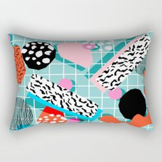 The 411 - wacka abstract memphis grid throwback retro cool neon 80s style minimal mixed media Rectangular Pillow