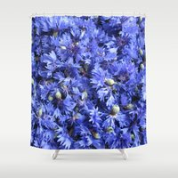 bed Shower Curtains featuring Bed of cornflowers by UtArt