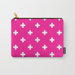 Swiss cross pattern on deep pink Carry-All Pouch