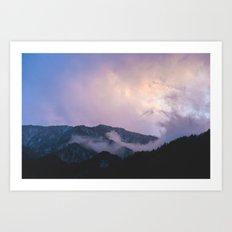 Japanese purple mountains Art Print