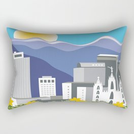 Salt Lake City, Utah - Skyline Illustration by Loose Petals Rectangular Pillow