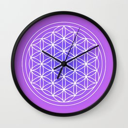 Flower of Life Mandala Purple Blue Wall Clock