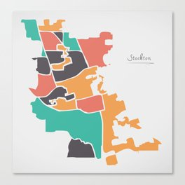 Stockton California Map with neighborhoods and modern round shapes Canvas Print