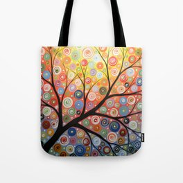 Abstract Art Landscape Original Painting ... Reaching For the Light Tote Bag