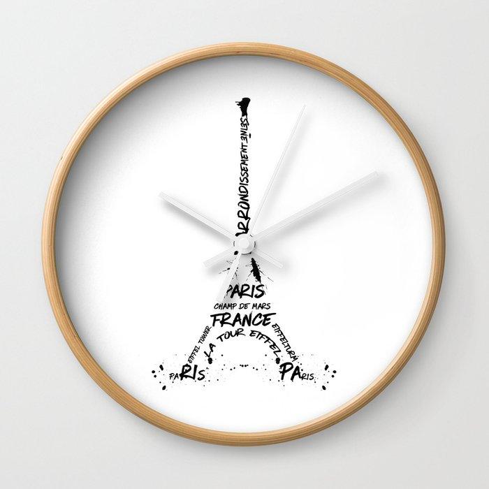 Digital-Art Eiffel Tower Wall Clock