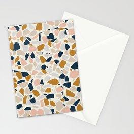 Terrazzo Mosaic Pattern, Gold, Navy, Blush Pink, Neutrals Stationery Cards