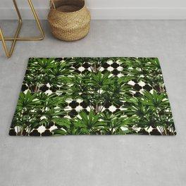 Geometric Palm Leaf Pattern - Black Gold Rug