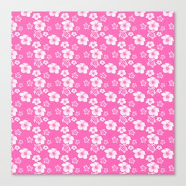 Pink Hibiscus Honu Hawaiian Pattern Canvas Print