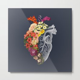 Flower Heart Spring Blue Grey Metal Print