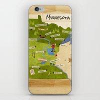 minnesota iPhone & iPod Skins featuring Minnesota Map by Carpcake