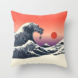 The Great Wave of Black Pug Throw Pillow