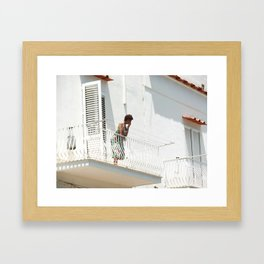 Lady on Balcony Framed Art Print