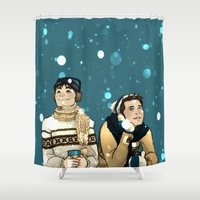 kevin russ Shower Curtains featuring Kevin & Cas - Supernatural by Justyna Rerak