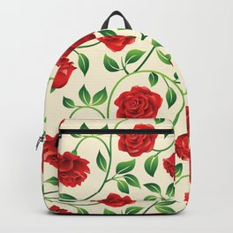 Vintage roses pattern. Retro floral hand drawn illustration Backpack