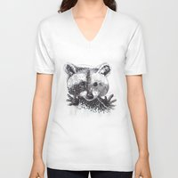 racoon V-neck T-shirts featuring Racoon by Faustine BLESSON
