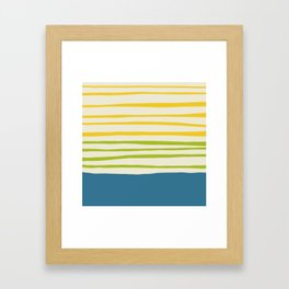 Playing with Strings - Line Art - Blue, Green, Yellow Framed Art Print