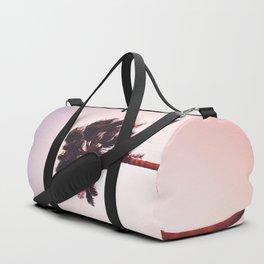 Pink And Purple Background Sunset Minimalist Palm Tree Silhouette Modern Photo California Duffle Bag
