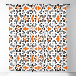 black, white, grey, orange -  Oriental design - orient  pattern - arabic style geometric mosaic Blackout Curtain