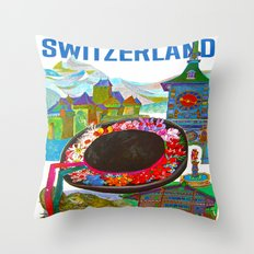 Vintage Switzerland Landmarks Travel Throw Pillow