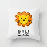 the lion king Throw Pillows featuring Lion & King by Jane Mathieu