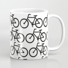 Bicycle Stamp Pattern - Black and White - Fixie Fixed Gear Bike Mug