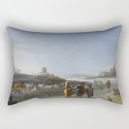An Italianate Landscape with an unidentified subject from the Old Testament, Cornelis van Poelenburc Rectangular Pillow
