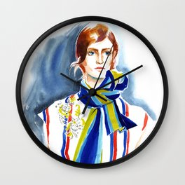 fashion #19. A girl with striped scarf Wall Clock
