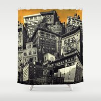 cityscape Shower Curtains featuring Cityscape by Chris Lord